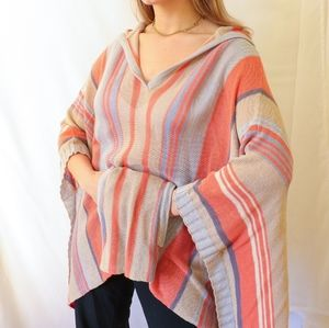 Orange blue striped knit oversize hoodie poncho